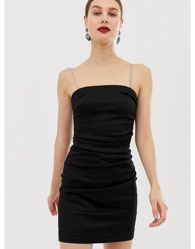 Nero donna Vestitino nero con spalline con strass - River Island