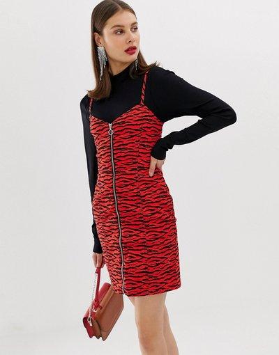 Rosso donna Vestitino rosso zebra con zip - River Island