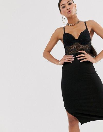Nero donna Vestito a fascia in pizzo nero - River Island