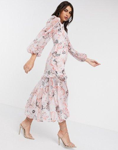 Rosa donna Vestito a maniche lunghe con stampa cachemire rosa - River Island