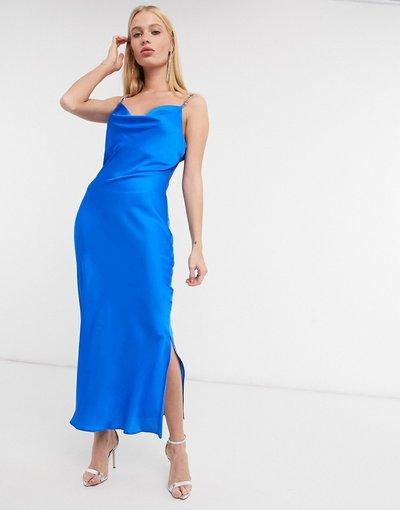 Blu donna Vestito a sottoveste midi blu con spalline sottili - River Island