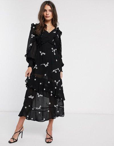Nero donna Vestito al polpaccio nero con ricami a contrasto - River Island