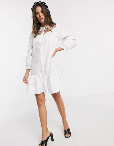Nero donna Vestito camicia corto a pannelli in organza bianco - River Island - Nero