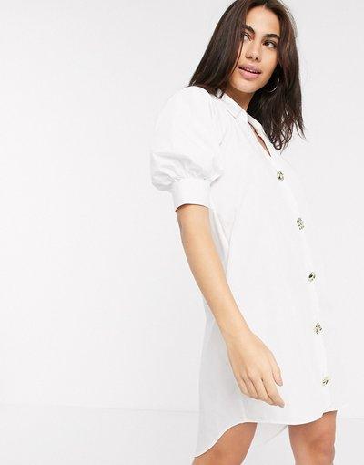 Bianco donna Vestito camicia in popeline bianco - River Island