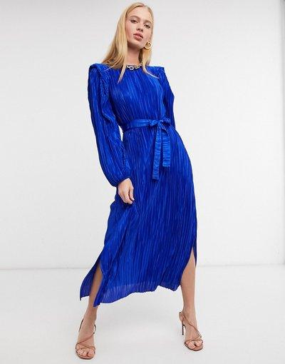Blu donna Vestito allacciato in vita con spalline imbottite blu - River Island