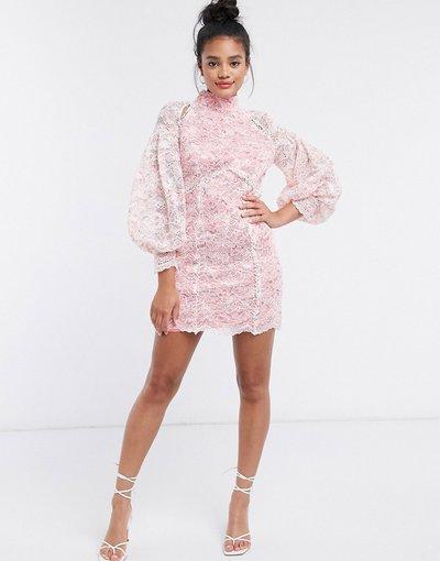 Blu donna Vestito corto con maniche voluminose in pizzo rosa - River Island - Blu
