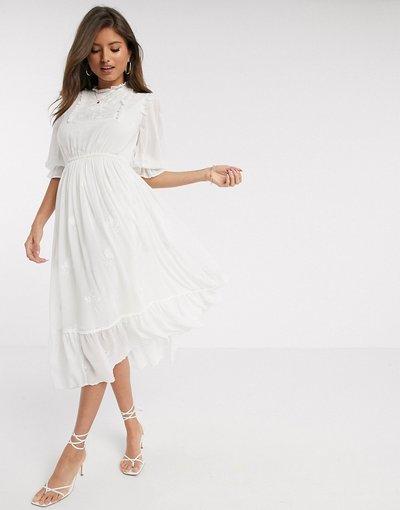 Bianco donna Vestito grembiule midi in pizzo bianco - River Island