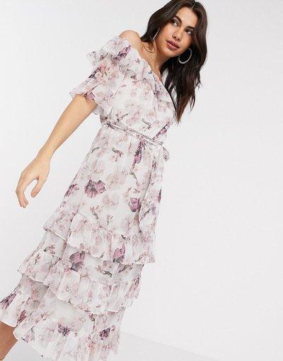 Rosa donna Vestito lungo con volant e scollo alla Bardot a fiori rosa - River Island