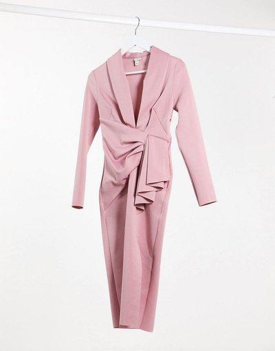 Bianco donna Vestito midi a fascia drappeggiato con scollo profondo rosa - River Island - Bianco