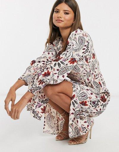 Crema donna Vestito midi arricciato color crema con stampa a fiori e maniche lunghe - River Island