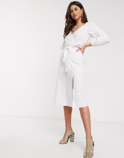 Bianco donna Vestito midi bianco arricciato con maniche a campana - River Island
