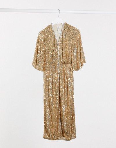 Oro donna Vestito midi decorato con paillettes oro - River Island