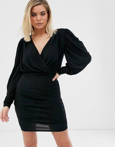 Nero donna Vestito nero a portafoglio - River Island