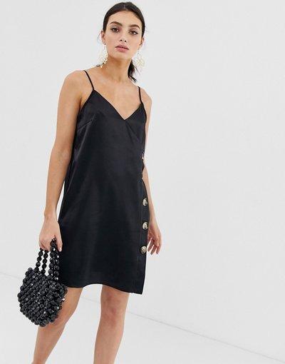 Nero donna Vestito nero con spalline sottili e bottoni - River Island