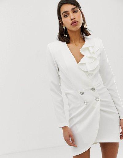 Bianco donna Vestito stile smoking sartoriale bianco - River Island