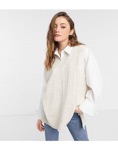 Beige donna Maglione stile canotta in maglia oversize - Rokoko - Beige