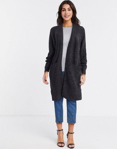 Grigio donna Cardigan in maglia a maniche lunghe grigio - Selected - Anna