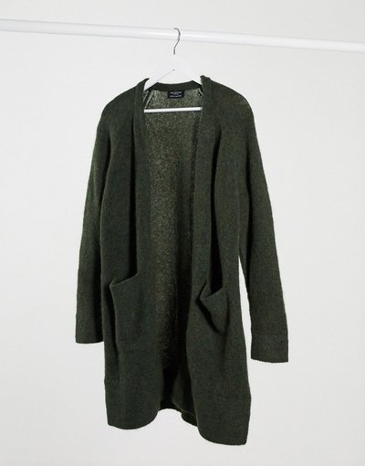 Navy donna Cardigan in maglia a maniche lunghe verde scuro - Selected - Anna - Navy