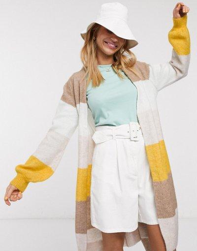 Multicolore donna Cardigan lungo a righe con cintura - Multicolore - Selected - Anna