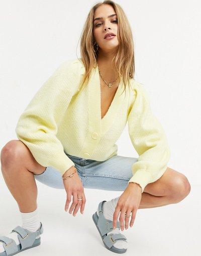 Giallo donna Cardigan giallo pastello con maniche a palloncino - Selected Femme