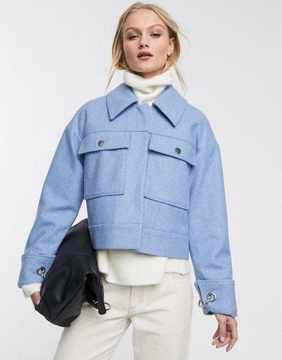 Blu donna Giacca trucker in misto lana con tasche blu - Selected Femme