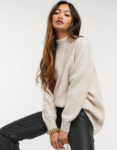 Crema donna Maglione accollato color crema in maglia spazzolata - Selected Femme