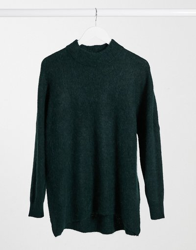 Verde donna Maglione accollato in maglia spazzolata verde - Selected Femme