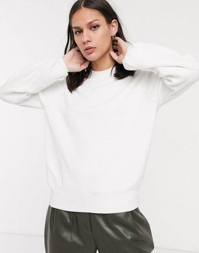 Bianco donna Maglione bianco con maniche a palloncino - Selected Femme
