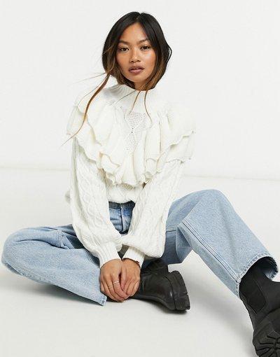 Bianco donna Maglione bianco con volant - Selected Femme