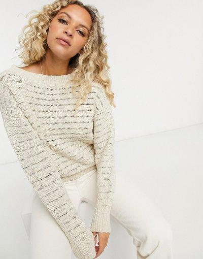 Crema donna Maglione con scollo a barchetta crema - Selected Femme