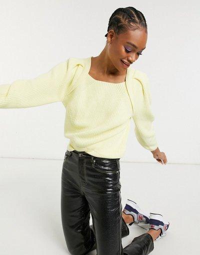 Giallo donna Maglione con scollo squadrato giallo - Selected Femme