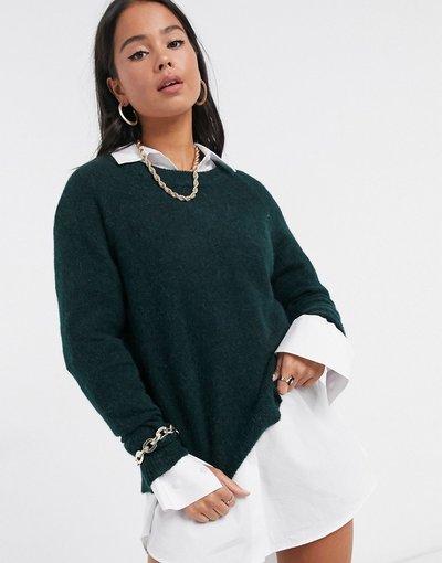 Verde donna Maglione in maglia spazzolata verde - Selected Femme