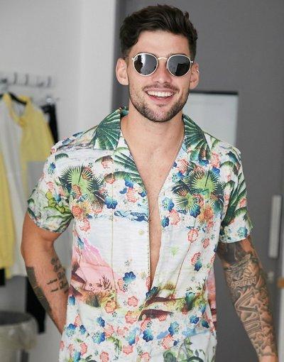 Camicia Bianco uomo Camicia con rever stampata - Selected Homme - Bianco