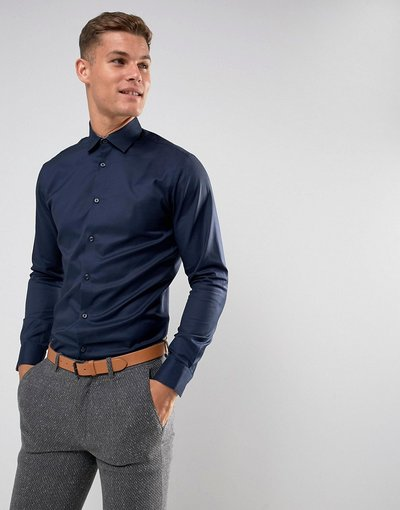 Navy uomo Camicia slim elegante blu navy facile da stirare - Selected Homme