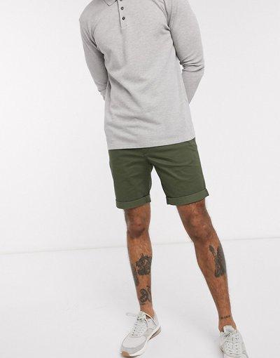 Verde uomo Chino corti in cotone organico kaki - Selected Homme - Verde