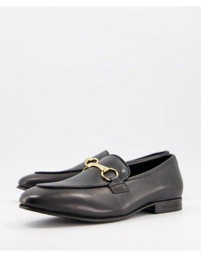 Scarpa elegante Nero uomo Mocassini in pelle premium con morsetto con catena neri - Selected Homme - Nero moda abbigliamento