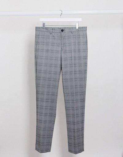 Grigio uomo Pantaloni slim grigi a quadri - Selected Homme - Grigio
