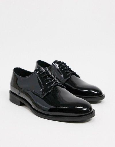 Scarpa elegante Nero uomo Scarpe derby nere in pelle verniciata - Selected Homme - Nero