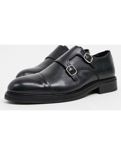 Scarpa elegante Nero uomo Scarpe in pelle nera con fibbie - Selected Homme - Nero
