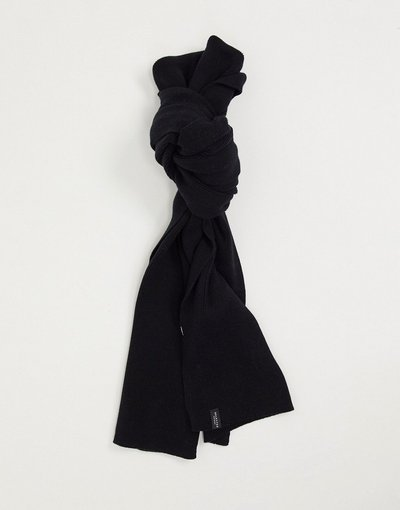 Nero uomo Sciarpa nera lavorata a maglia in cotone - Selected Homme - Nero