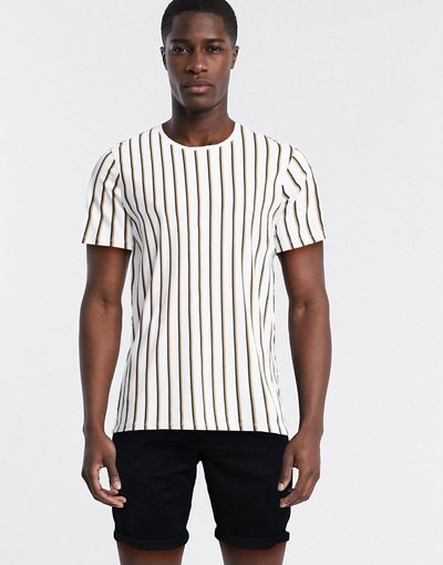 T-shirt Bianco uomo shirt in cotone organico bianco a righe verticali - Selected Homme - T