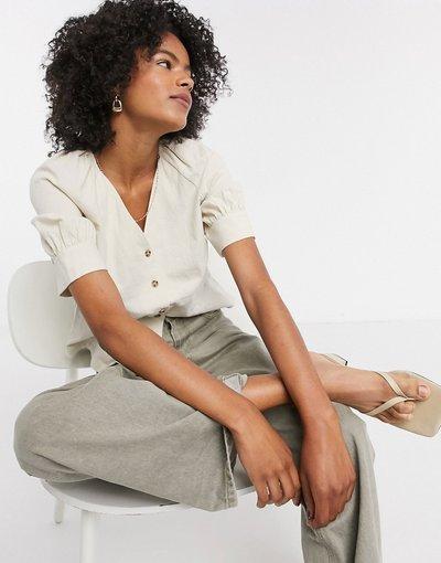 Camicia Crema donna Camicia in misto lino crema con colletto button - Selected - Malvina - down