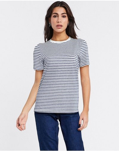 T-shirt Verde donna shirt blu scuro a righe - Selected - Perfect - Verde - T