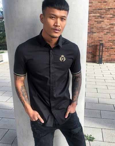 Camicia Nero uomo Camicia a maniche corte nera - Prestige - SikSilk - Nero