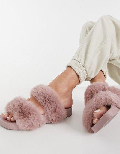 Sandali Rosa donna Sliders in pelliccia sintetica rosa polvere - Simmi London - Bobbie