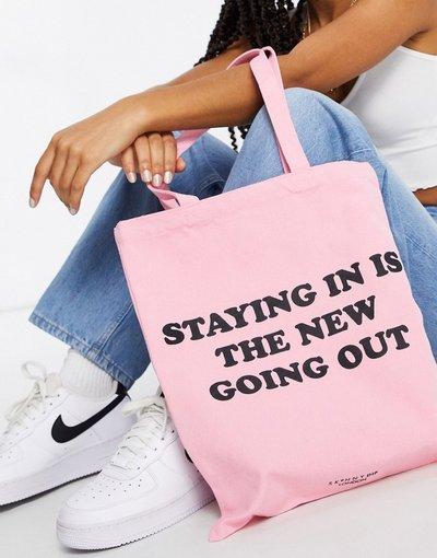 Borsa Rosa donna Borsa shopping in tela rosa con scritta - Skinnydip