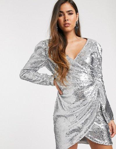 Argento donna Vestitino a portafoglio elegante con paillettes - Skylar Rose - Argento