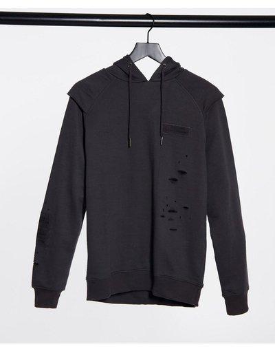 Felpa Grigio uomo Felpa con cappuccio in maglia nero carbone - Soul Star - Grigio
