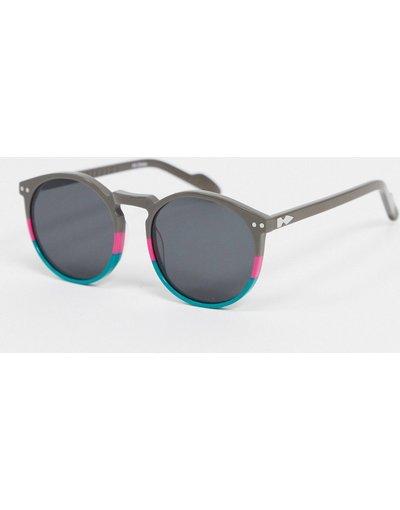 Occhiali Multicolore uomo Occhiali da sole rotondi da donna grigi e blu con riga rosa - Cut Eighteen - Multicolore - Spitfire