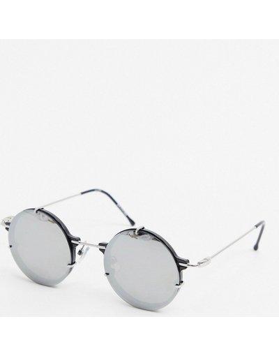 Occhiali Nero uomo Occhiali da sole rotondi con lenti a specchio neri - Spitfire - IFT - Nero